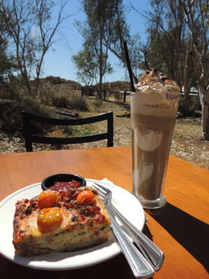 Frittata Slice and Iced Chocolate made by the Trail Station Wi-Fi Cafe, at the Alice Springs Telegraph Station