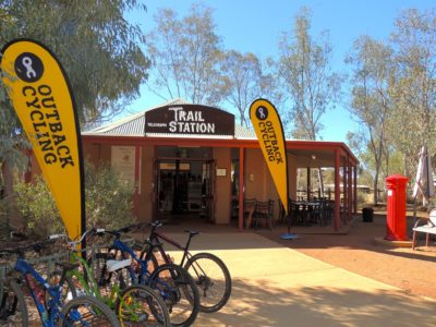 The Trail Station Wi-Fi Cafe is the gateway to the Alice Springs Telegraph Station - you can also hire bikes